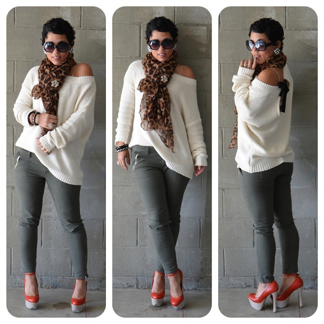 i'd rock: ivory sweater (unique).  grey jeans (old navy).  leopard scarf (old navy).