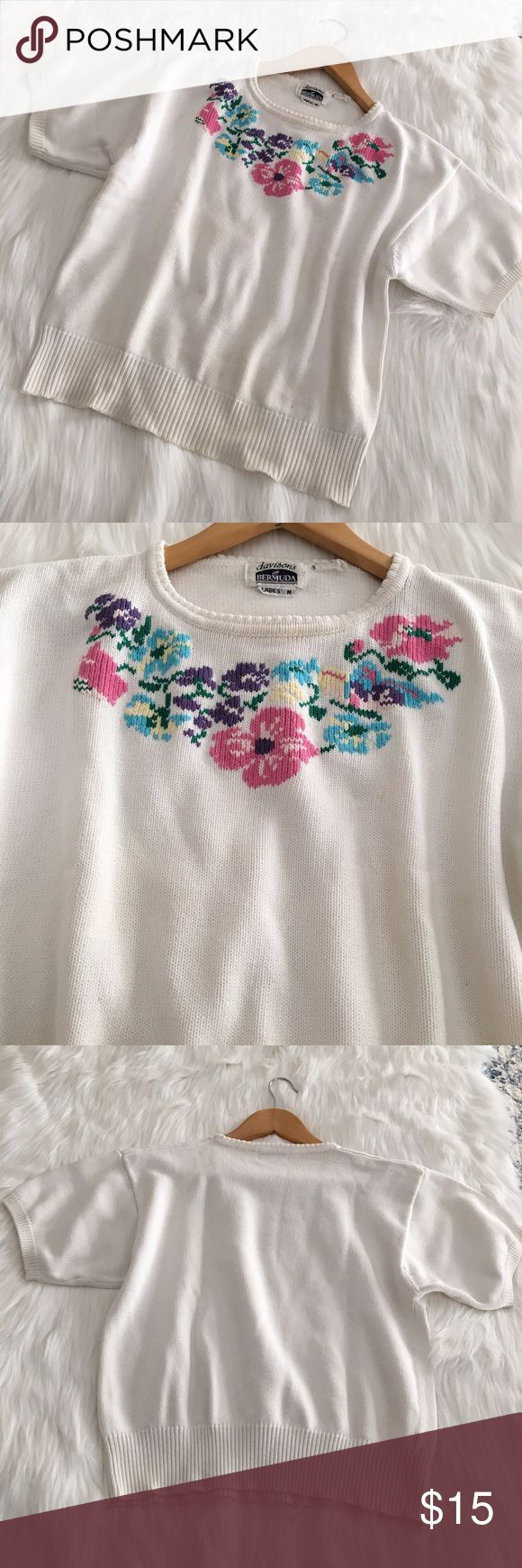 Floral cross stich embroidered sweater top vintage Floral cross stitch/ embroidered floral sweater top  by Davison's of Bermuda (a store located on the island). I always love running into short sleeve sweaters, my fave! Perfect for those cool summer nights. Has some yellowing to the fabric and some tiny spots (see third pic). #embroidered #sweater #top #crossstitch #grandma #aesthetic Davison's of Bermuda  Sweaters Crew & Scoop Necks