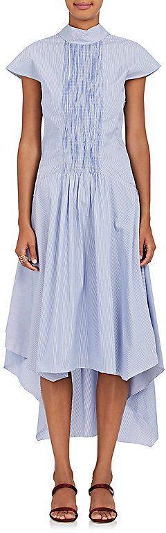 Teija Women's Smocked-Front Striped Cotton Poplin Dress