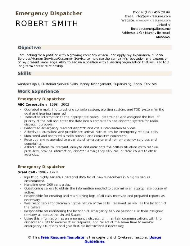 Dispatcher Job Description Resume Lovely Emergency Dispatcher Resume Samples
