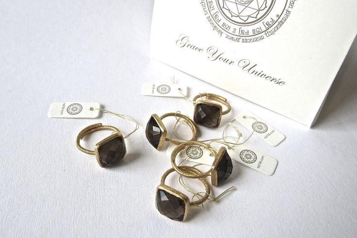 raj108  kundalini yoga yoga yogic  grace your universe mandala jewellery rings 18kgold gold labels gift bag gift smokeyquartz