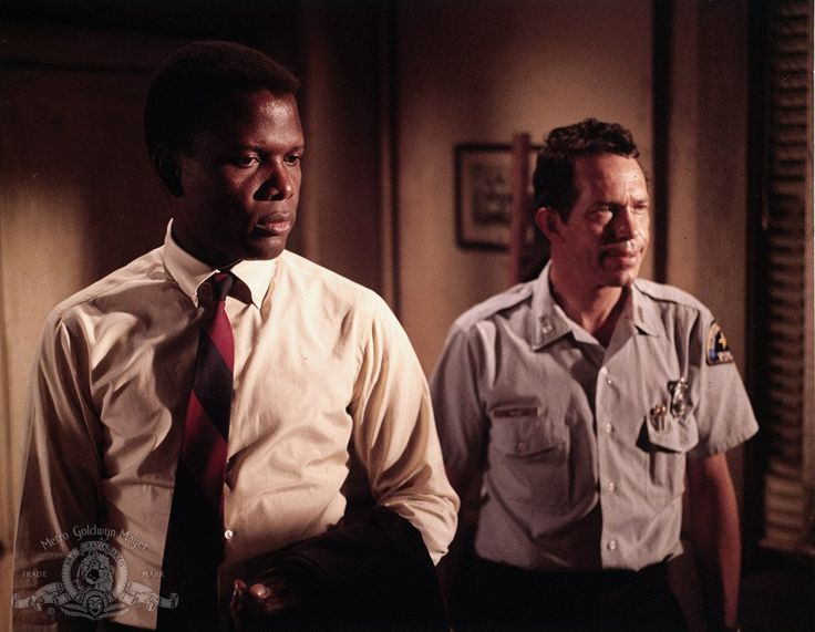 Sidney Poitier and Warren Oates in In the Heat of the Night, 1967
