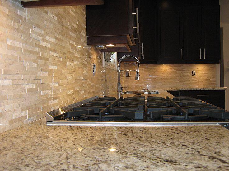 Stone Tile Backsplash Ideas   , : Small Piece Natural Stone Mosaic TIles Kitchen Backsplash Ideas ...