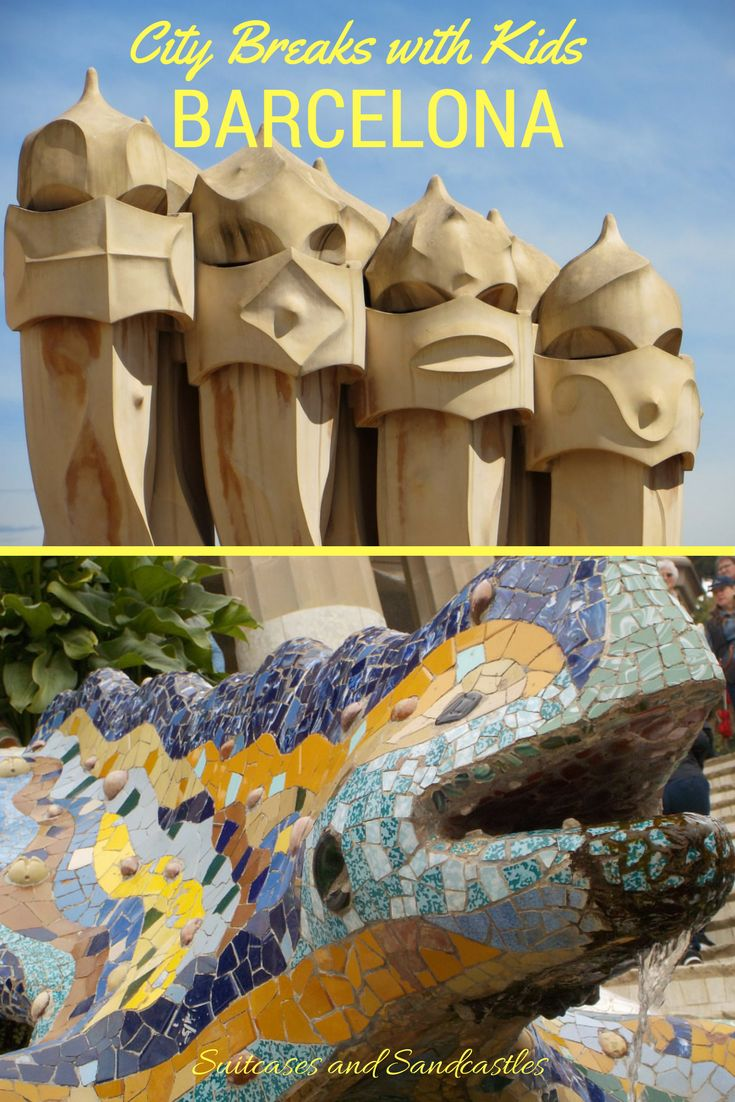 Family Guide to Barcelona, the Spanish city the whole family will love from the dragons on top of the houses, the colourful creations of Parc Guell, the beaches, the hot choolate, the cable cars and the football stadium. What to see and do to make the most of your trip. #barcelona #familytravelspain #barcelonawithkids #bestcitiesspain