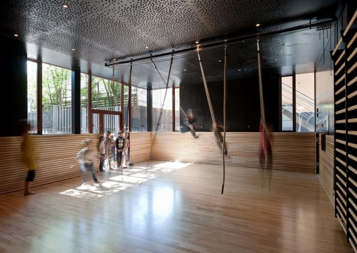 kids' gym simplified: ropes to run and swing with Back to School: An Unorthodox Campus in Denmark : Remodelista