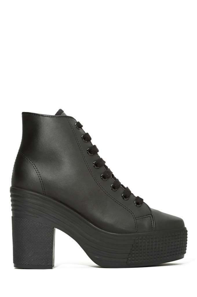 JC Play by Jeffrey Campbell Asif Platform Leather Sneaker - Black | Shop Jeffrey Campbell at Nasty Gal