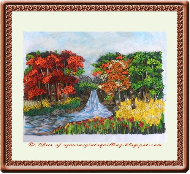 A Journey into Quilling  Paper Crafting: A Quilled Nature Scene Landscape Painting - Autumn Forest Waterfall