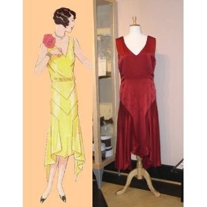 1929 Frock with Handkerchief Hem Pattern from Past Patterns.