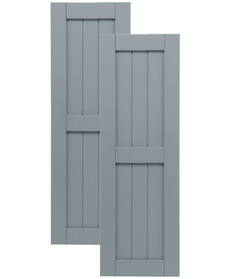 Exterior Solutions - Traditional Composite Framed Board-n-Batten Shutters - Center Mullion, Installation Brackets Included