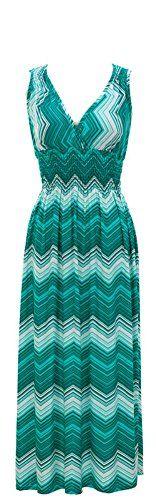 Plum Feathers Chevron Print Smocked Waist Maxi Dress (Small, Aqua) Plum Feathers http://www.amazon.com/dp/B00IJHMPAO/ref=cm_sw_r_pi_dp_.f6.ub1BD690V