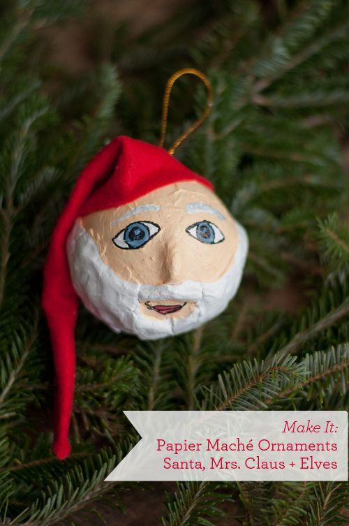 DIY Papier Maché Ornaments. Santa, Mrs. Claus & Elves!   |   Design MomDesignmom, Maché Ornaments, Maché Santa, Maché Holiday, Holiday Ornaments, Design Mom, Paper Mache, Papier Mache, Diy Papier