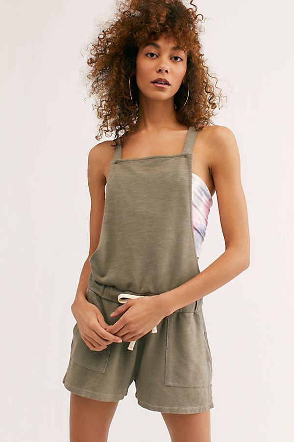 Monrow Womens Patch Pocket Overalls