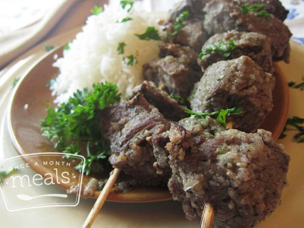 Paleo Beef Shish Kebabs for Freezer Cooking
