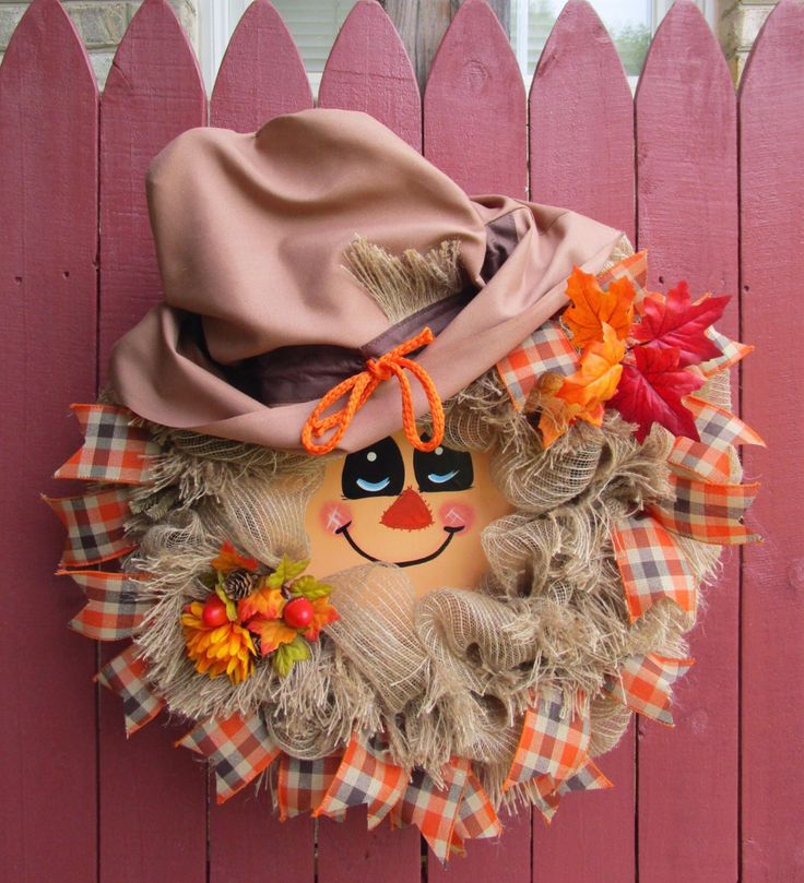 NEW!! Scarecrow Wreath, Fall Scarecrow, Deco Mesh Wreath, Country Mesh Wreath, Fall Mesh Wreath, Fall Door Decor, Autumn Wreath by iCraftWreaths on Etsy