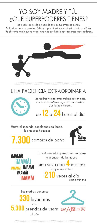 """Infografía para las madres: """"Yo soy madre, y tú ¿qué superpoderes tienes? Disfrutadla. http://www.cometelasopa.com/infografia-las-madres-y-sus-superpoderes/"""