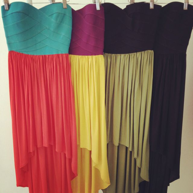obsessedColors Combos, High Low Dresses, Favorite Things, High Low Skirts, Flowy Skirts, Highlow, Bandage Tops, Colors Block, Art Fashion