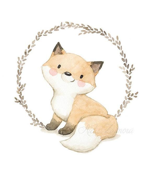 "Nursery Art ""BABY FOX"" Art Print, Chidren's art"