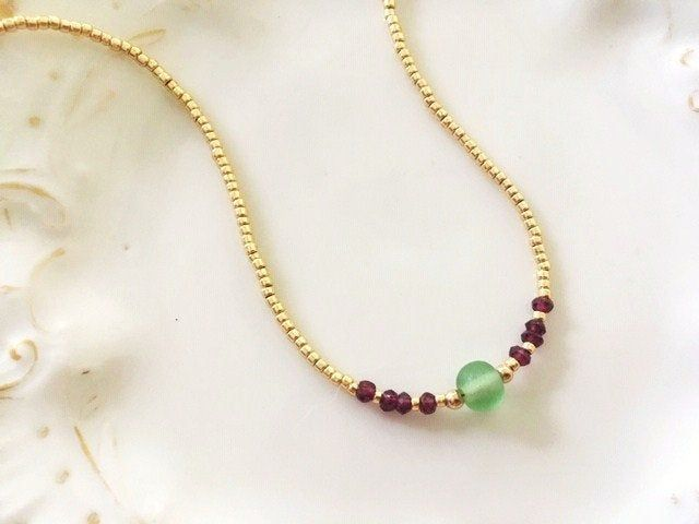 Gemstone Necklace For Women Garnet Necklace Goldfilled Necklace Dainty Jewelry Beads Choker Gold Choker Minimalist Gemstones Necklace