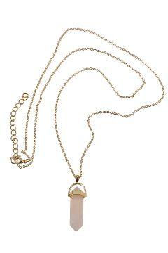 Ellos Collection Rosa/gullskimrende Halskjede med prisma