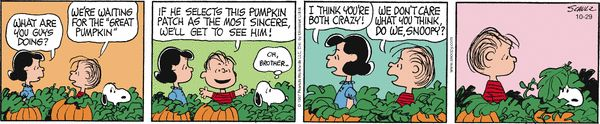 Peanuts by Charles Schulz | October 29, 2014 - Great Pumpkin