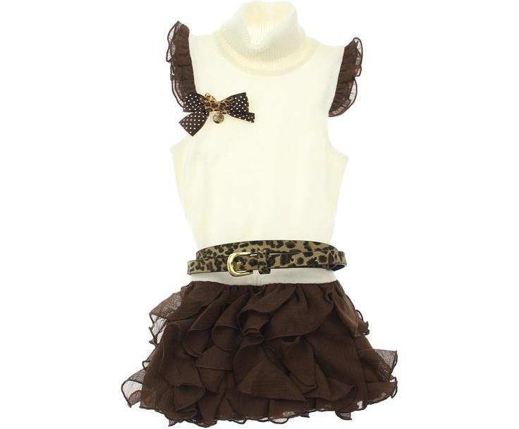 Fun & Fun Junior Girls Ivory & Brown Ruffle Dress With Leopard Print Belt