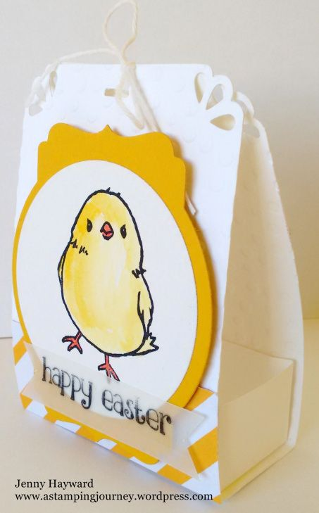 Easter treat bag using Stampin' Up! Honeycomb Happiness.  The treat bag top is punched with the Curvy Corner Trio Punch.
