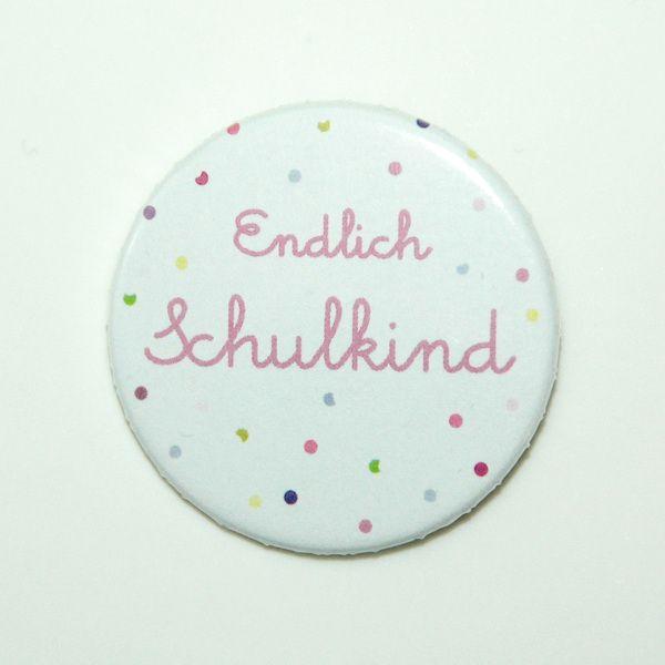 Button Schulkind 38mm ♥ Konfetti rosa von OOH HAPPY DAY auf DaWanda.com