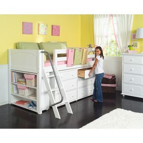 Loft style bed for a small kids room. I absolutely LOVE this bed! Has storage built into it so it won't take up extra room, and it looks so stylish!