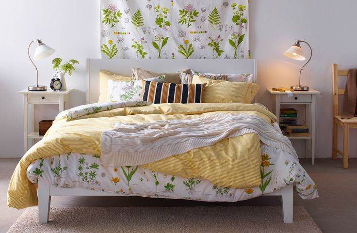 Hálószoba, IKEA textilekkel és huzatokkal, rusztikus hatással