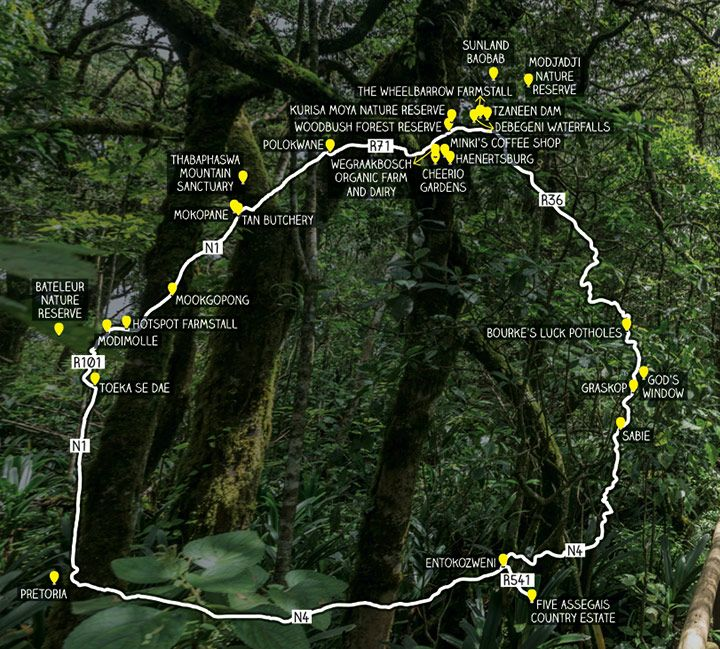 Hiking trails in Limpopo and Mpumalanga map