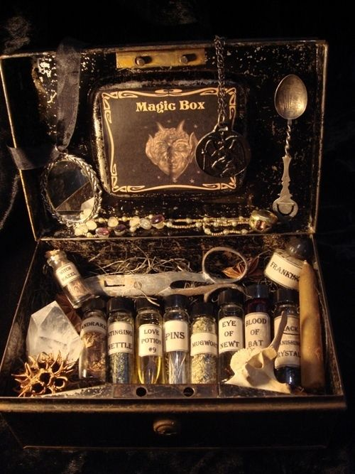 Antique magic box goodies, with all sorts of goodies, including Magic Potion Number 9!