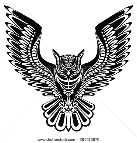 Flying owl black silhouette with a pattern on the body. Hand drawing in ethnic style / Tattoo design