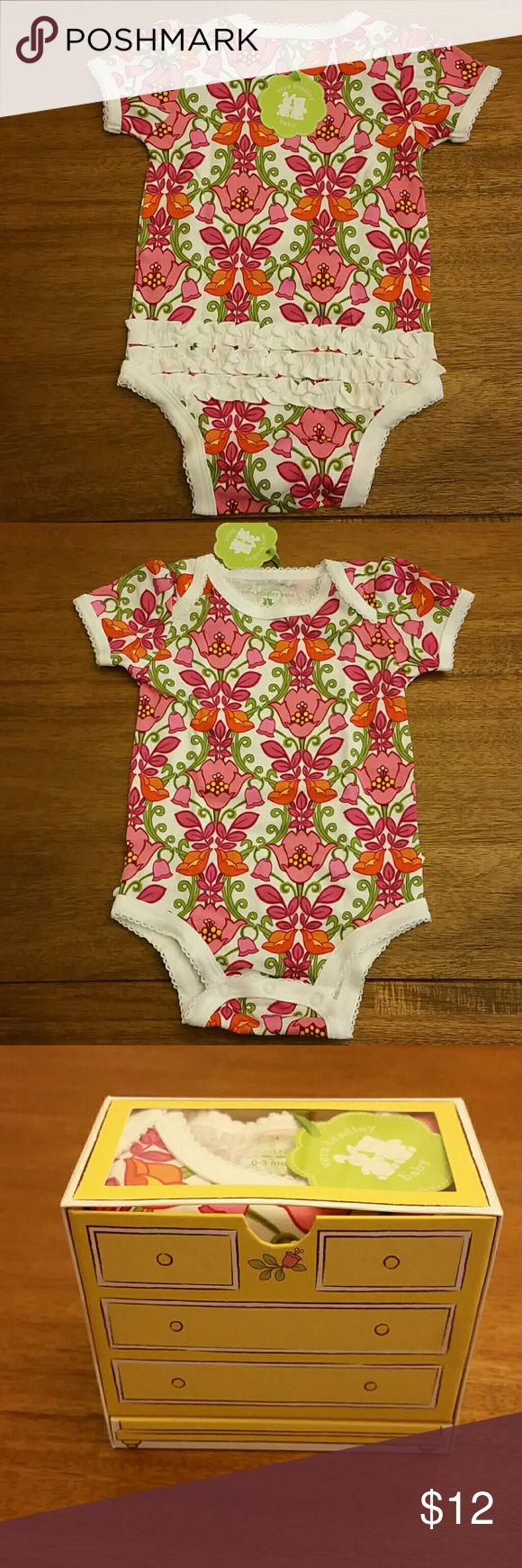 Vera Bradley baby bodysuit Vera Bradley baby ruffle bottom bodysuit. Lilli Bell is the pattern.  NWT. 0-3  or 3-6 Vera Bradley One Pieces Bodysuits