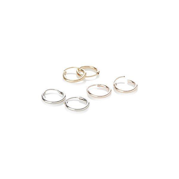 Simons Mixed metal mini hoops ($12) ❤ liked on Polyvore featuring jewelry, earrings, hinged hoop earrings, hinged earrings, metallic jewelry, mixed metal jewellery and hoop earrings