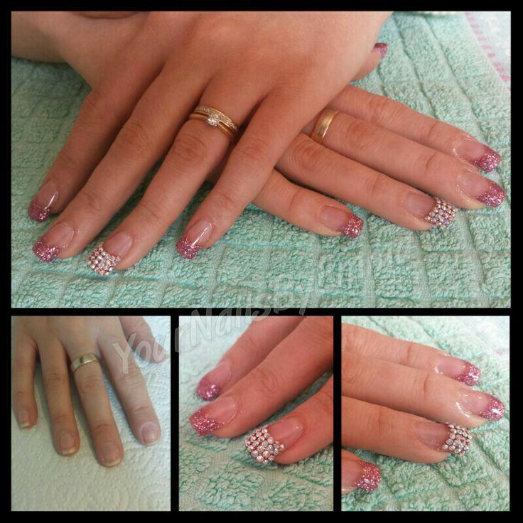 Pink glitter with super sparkly swarovski crystal detail ☺