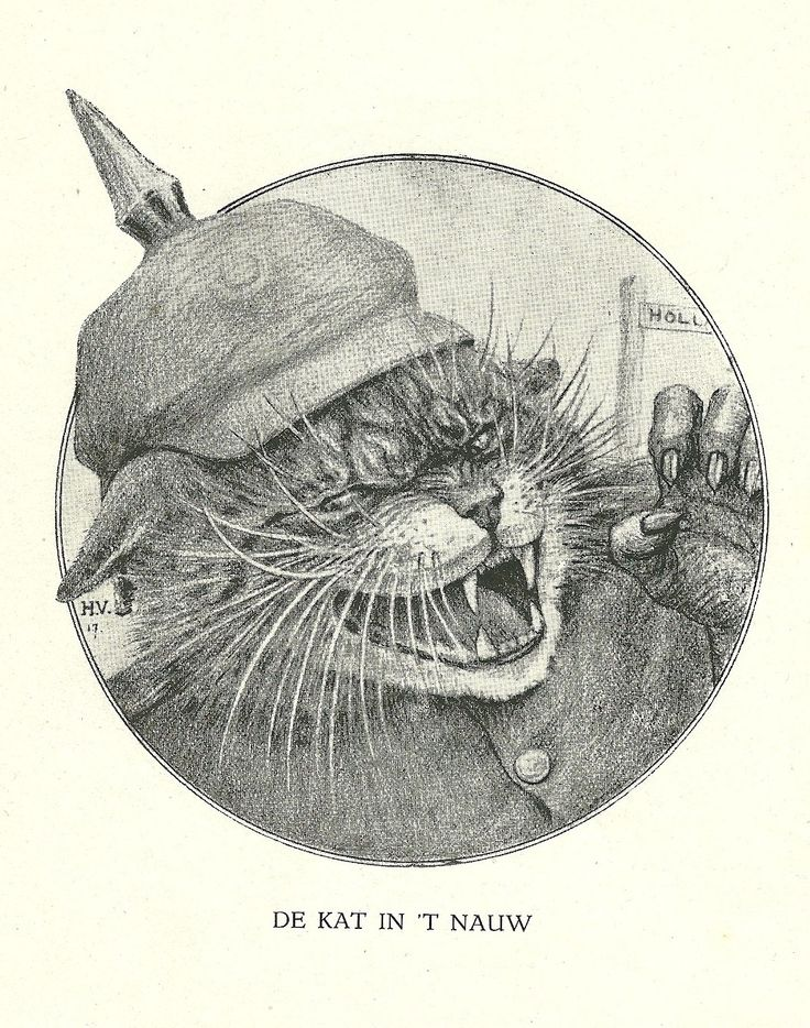 De Kat in 't Nauw  by Henri Verstijnen. Europeana 1914-1918, CC BY-SA