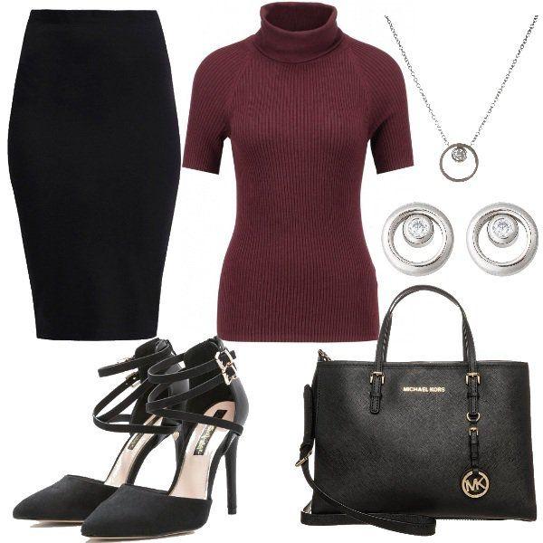 Outfit+adatto+in+particolar+modo+per+il+lavoro+di+ufficio+ed+è+composto+da:+lupetto+mezza+manica+a+costine+colore+bordeaux,+gonna+tubino+nera,+scarpe+con+tacco+allacciate+alla+caviglia,+borsa+nera+di+Michael+Kors+e+infine+per+dare+un+po'+di+luce+al+vostro+look+propongo+collana+ed+orecchini+con+strass.