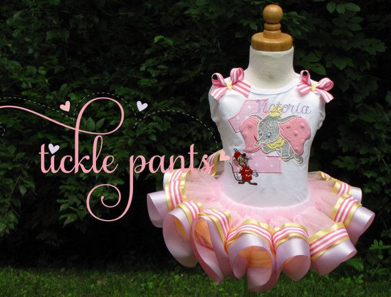 Dumbo Birthday Tutu Outfit Pink and pastels by TicklePants on Etsy