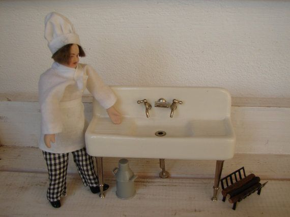 112 scale dolls houseceramic/chrome butler by shabbyfrenchstyle