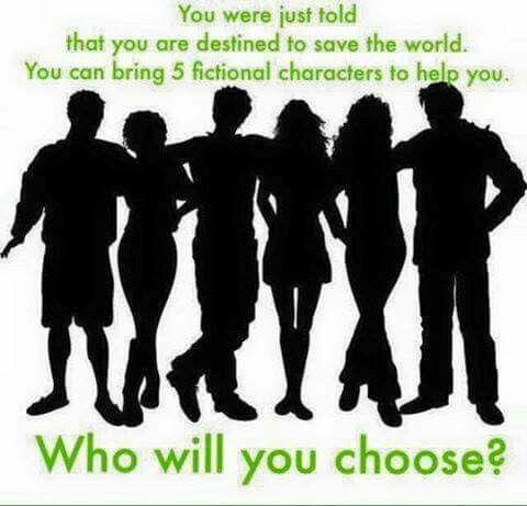 1. Katniss Everdeen 2. Hermione Granger 3. Tobias Eton (Four from Divergent) 4. Harry Potter 5. Ginny Weasley