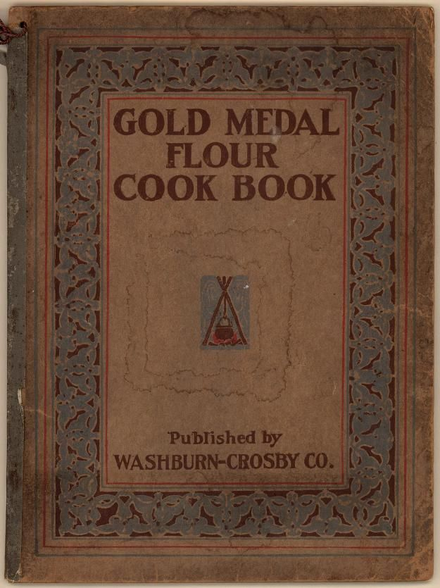 ***Gold Medal Flour Cookbook. From Duke Digital Collections. Collection: Emergence of Advertising in America. Full page Gold Medal advertisements throughout cookbook. General baking information in addition to recipes. Recipes differ from the 1900s version; internal graphics are more elaborate (photographic?) and feature serving women and table settings; several illustrations of product packaging; several coupons on last page. Images of selected pages from this item are available.