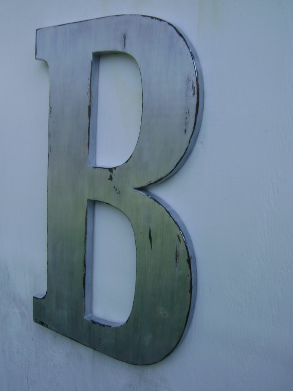 Silver shabby chic rustic wooden Letters big 18 by UncleJohnsCabin, $48.00