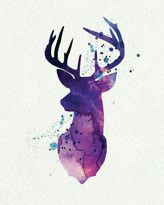Deer Head Graphic Design Inspiration Watercolour Art Forest