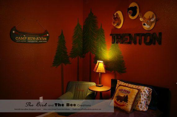 Little Cabin Boys Bedroom Decor Animal Wall by thebirdandbee