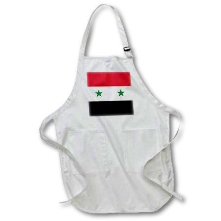 3dRose Flag of Syria - Syrian red white black with two green stars Middle East Arab country Arabic world, Full Length Apron, 22 by 30-inch, White, With Pockets