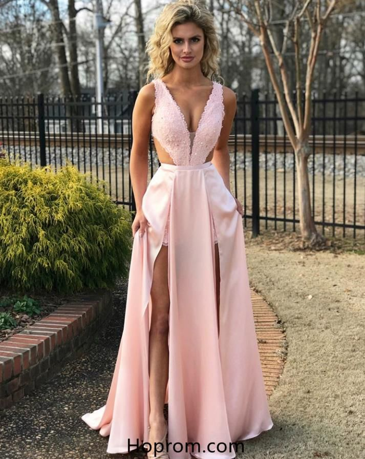 b9c750c17890 A Line Lace Cutout Top Prom Dresses Pink Slit Evening Dresses in ...