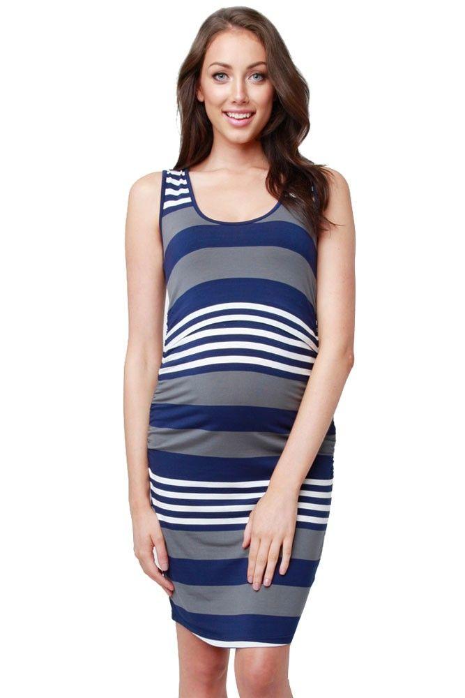 Womens Stripe Sleeveless Pregnant Maternity Breastfeeding Nursing Summer Maternity Dress
