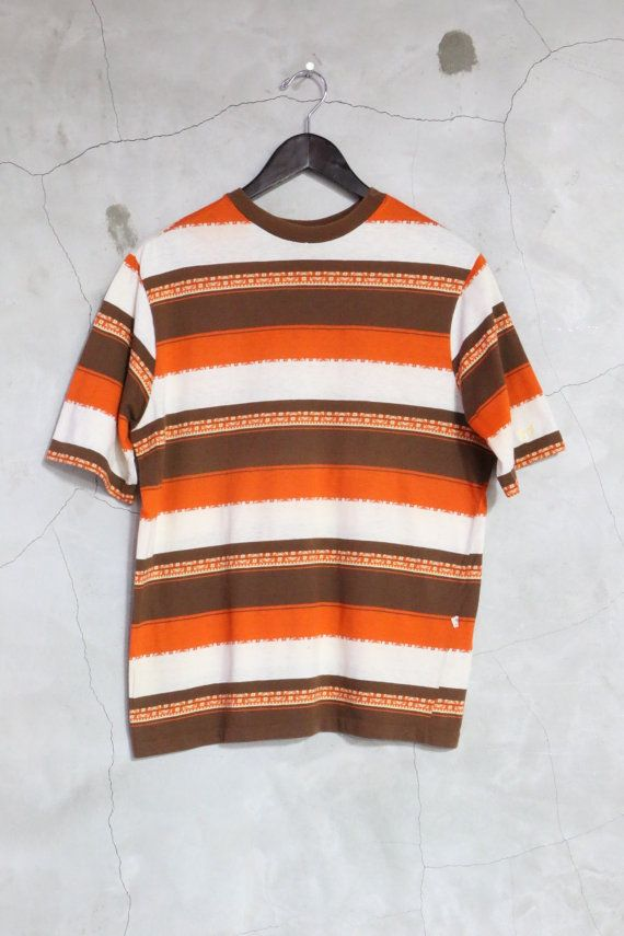 vintage 70s hang ten surf t shirt brown orange cream jumper tee shirt