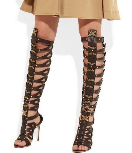 Embellished leather cage sandals