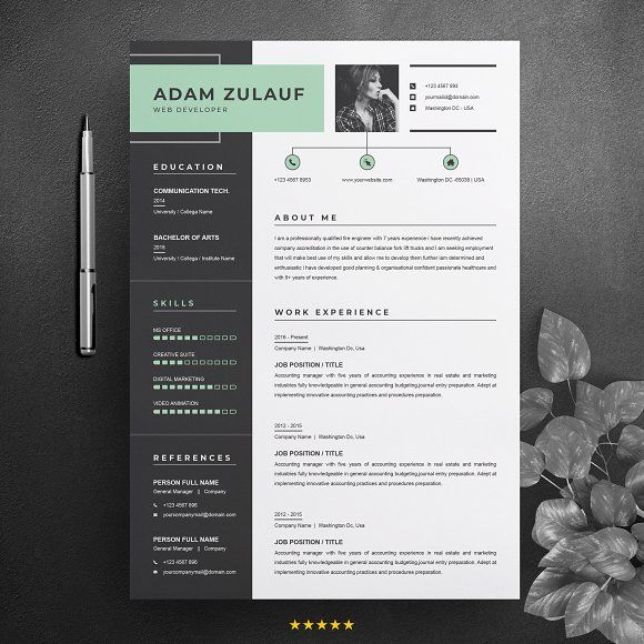 One Page Resume Cv Template One Page Resume Cv Template Resume Design Template